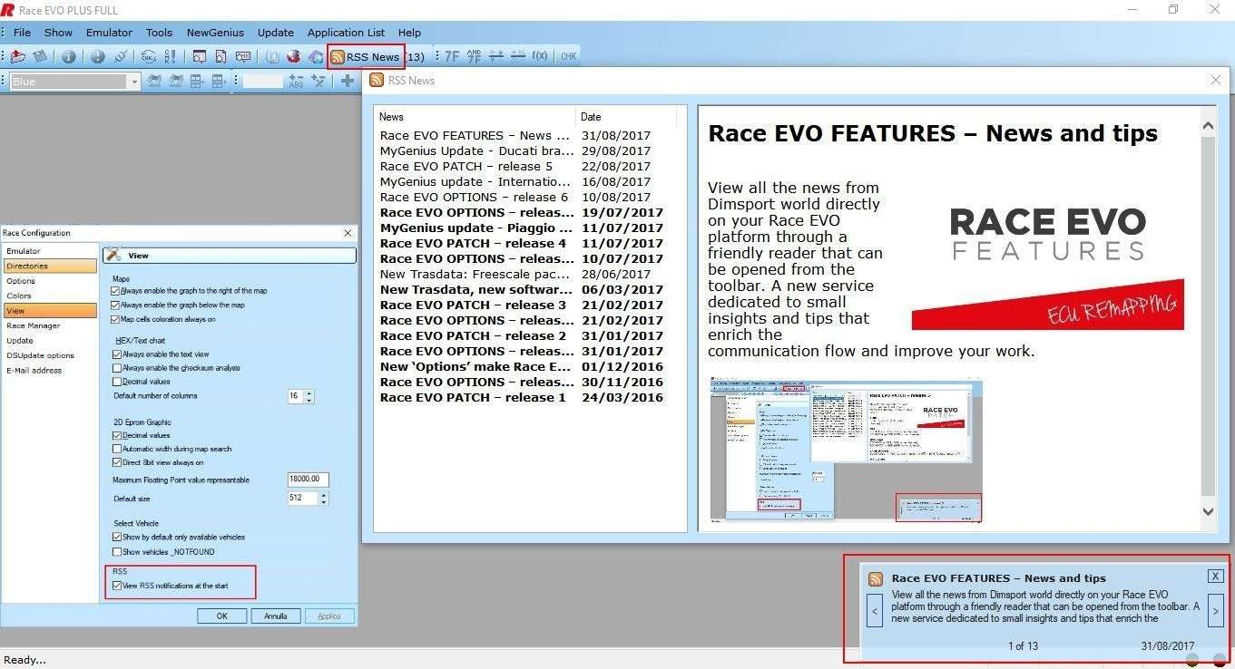 Race EVO FEATURES – News and tips