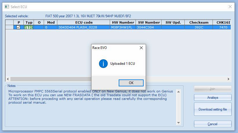Automatic setting file downloading integrated in Race Evo software